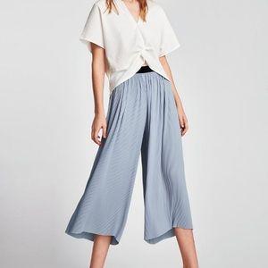 Light Blue Flowy Pants with Pleats